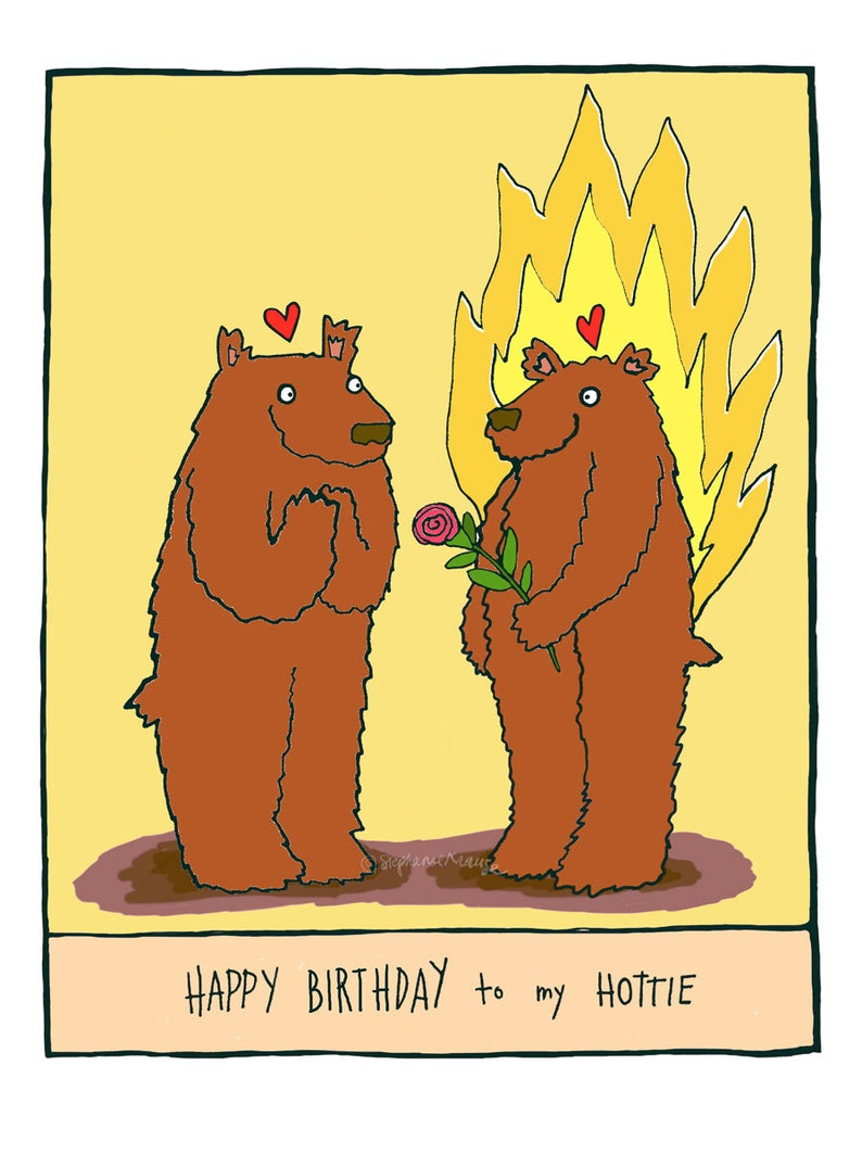 Happy birthday to my hottie  giclee-printed greeting card image 0