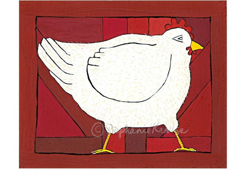 Hen  8 x 10 matted signed digital Giclee print image 0