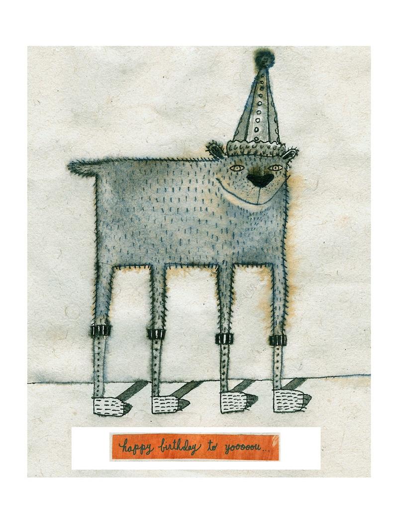 Birthday Doggy  Greeting Card Blank Inside image 0