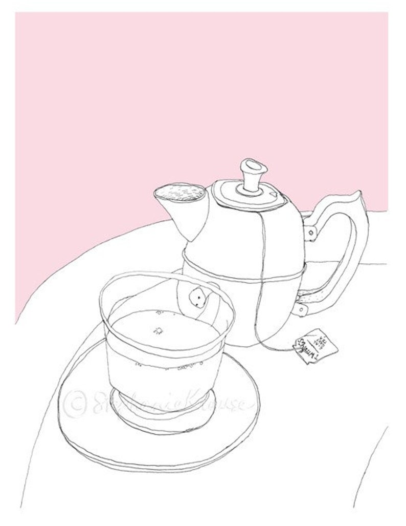 Tea time  giclee-printed greeting card blank inside  teapot image 0