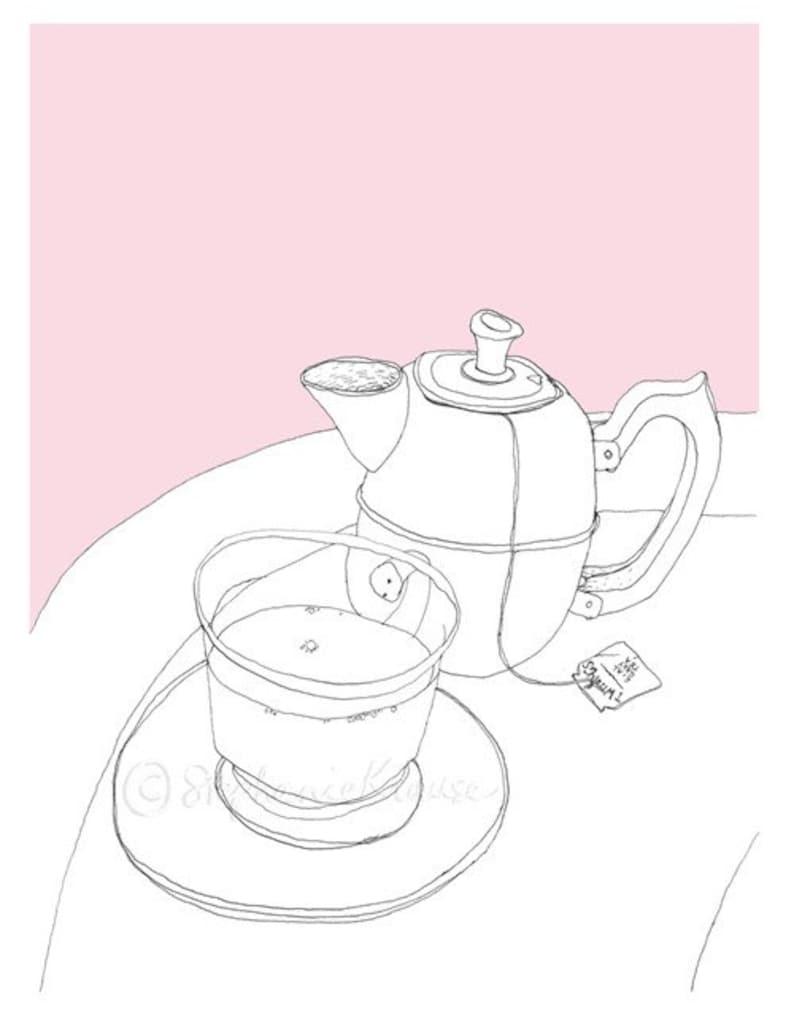Tea time  giclee-printed greeting card blank inside  teapot image 1
