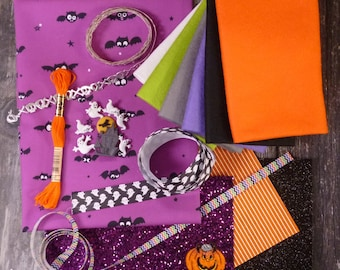 The Purple Bats Halloween Bundle for crafters & stitchers