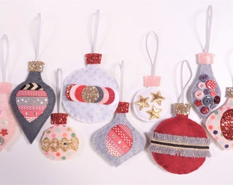 Christmas Decorations Sewing Kit - Scandinavian Baubles