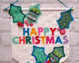 Christmas Banner Sewing Kit - Happy Holly Christmas