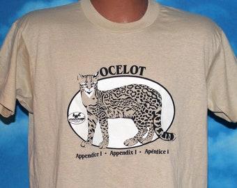 Ocelot Wild Cat Tan Screen Stars DEADSTOCK Large Tshirt Vintage 1980s