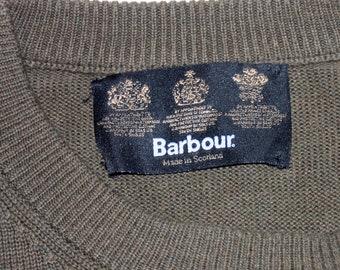 Barbour classico cotone girocollo maglia leggera oliva   verde militare  grande Made in Scozia affb579514ee