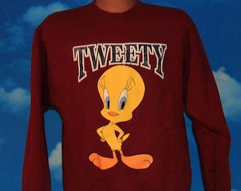 Tweety Looney Tunes Pullover Burgundy Sweatshirt Large Vintage 1996