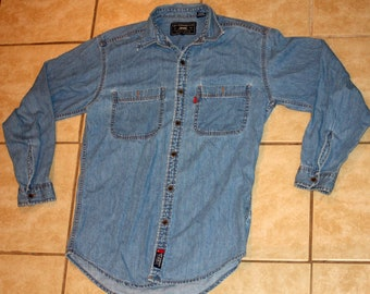 d955fd5f4f5 Levi s Red Tab Authentic Copper Button Denim Shirt Small Vintage 1990s