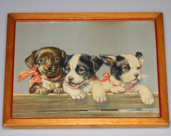 Puppies on Fence Framed Lithograph Art Print Vintage 1950s