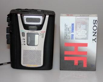 Sony Cassette Corder TCM-465V with New Blank Cassette Tape Vintage 1990s