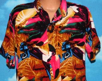Julimel Bright Toucan Hawaiian Shirt Short Sleeve Button Up Large Shirt Vintage 1990s