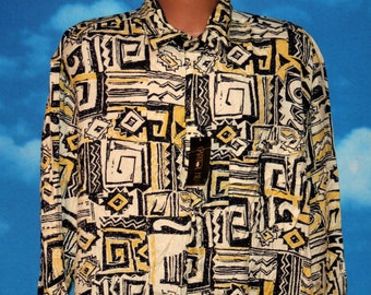 Capitol Hill Hip Hop Abstract DEADSTOCK New Button Up 2XL Shirt Vintage 1990s