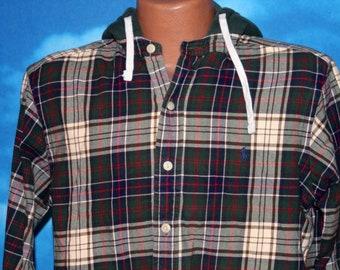 Polo Ralph Lauren Heritage Plaid Hooded Button Up Shirt Medium