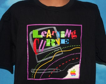 Apple Computers Learning Curve DEADSTOCK Black XL T-shirt Vintage 1990's