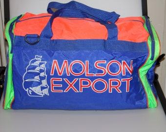 7e79da9e31be Molson Export Neon Greenwood Horse Racing Duffle Gym Bag Vintage 1990s