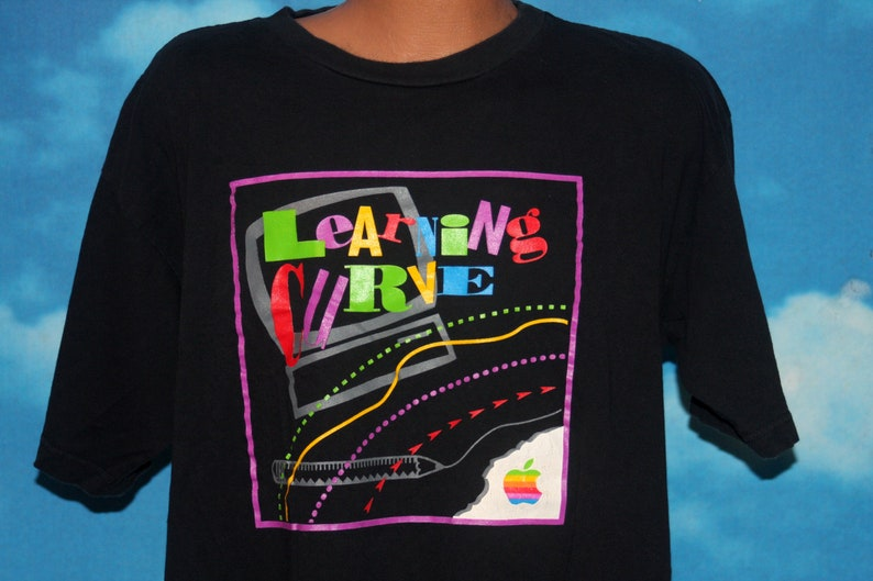Apple Computers Learning Curve Black XL T-shirt Vintage image 0