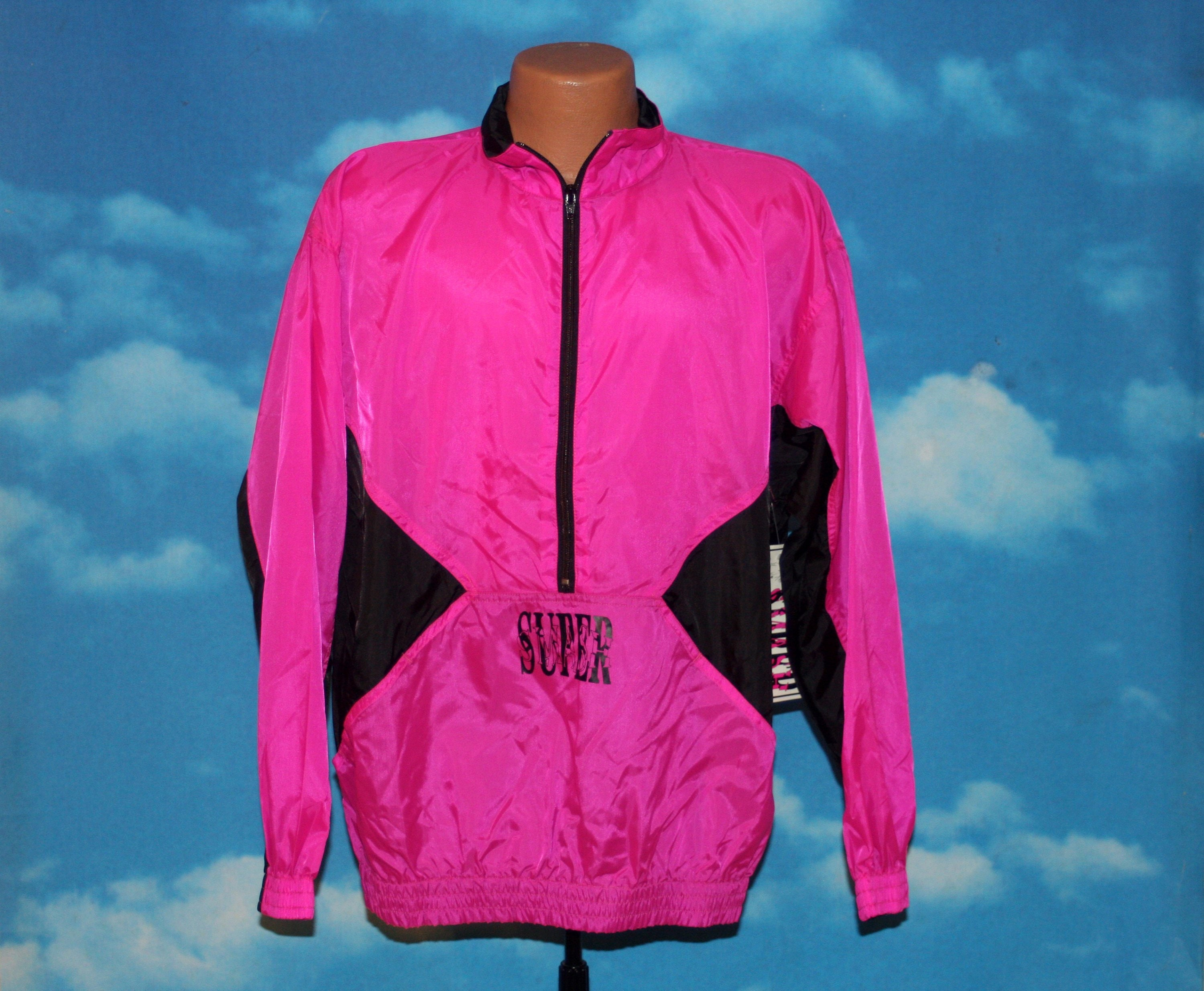 5f68ca9f0b86 Super Smash Neon Pink Black Pullover DEADSTOCK New Windbreaker