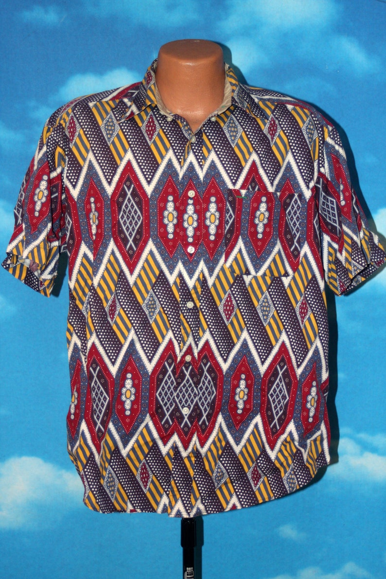 Tommy Hilfiger Geometric All Over Print Button Up Shirt Vintage 1990s