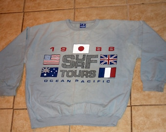 Ocean Pacific 1988 Surf Tours Large Blue Shirt Vintage 1987