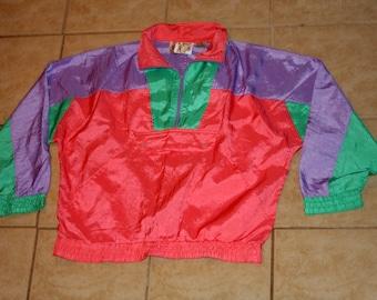 Active Spirit Peach Colorful Pullover Windbreaker Medium Vintage 1990s