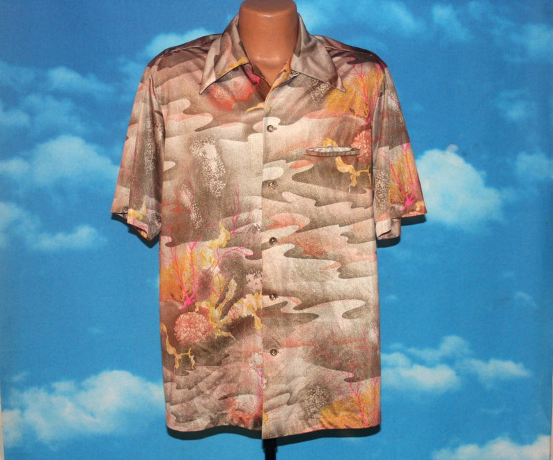 Napili Psychedelic Brown Orange Abstract Coral Short Sleeve image 0
