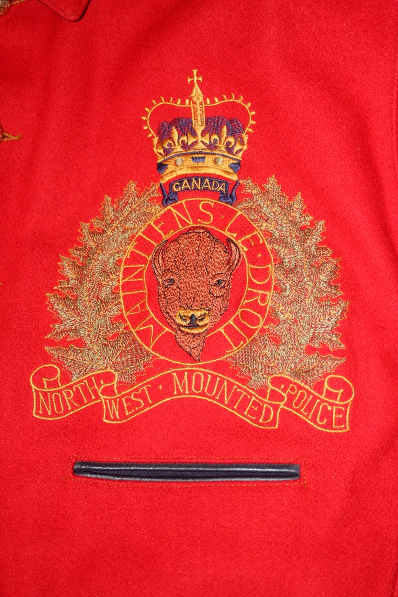 Looking Forward The Force RCMP Style North West Mounted Police Large Red Jacket Vintage 1980s