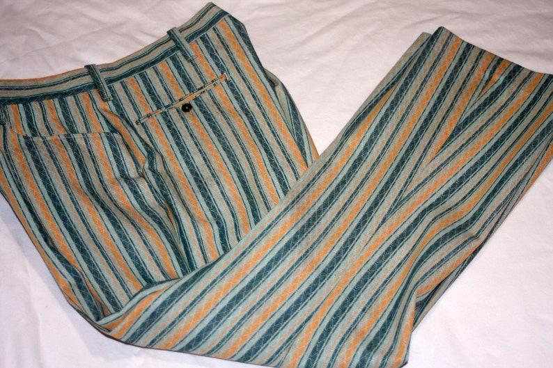 Koratron Striped Green Orange Pleated Wide Leg Pants Vintage image 0