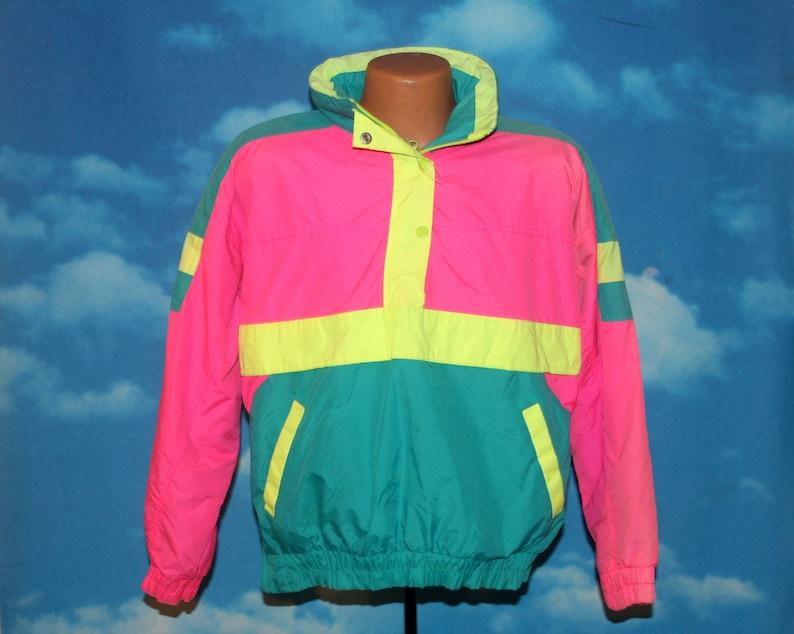 DEADSTOCK Extra Energy Bright Neon Pink Yellow Teal Fleece image 0