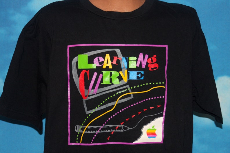 Apple Computers Learning Curve DEADSTOCK Black XL T-shirt image 0