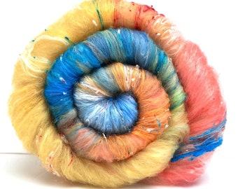 Hattie Batt 1020-02 - 5 oz Merino wool, silk, noils lightly textured sparkly batt, roving, drumcarded spinning fiber, handspinning