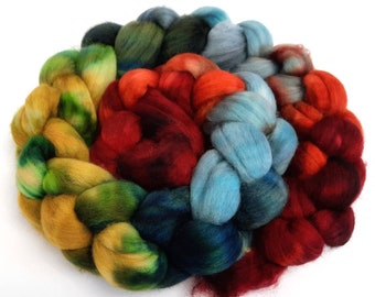 Logan - 4 oz 18 micron Merino wool combed top, roving, spinning fiber, handspinning, felting, mirrored gradient
