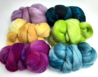 Semisolid Spinning Pack - 6.5 oz total, six 1+ oz Polwarth wool combed top, roving, spinning fiber, handspinning 1022-03