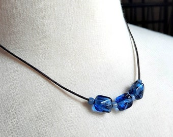 Choker necklace, Czech glass, lampwork glass and leather 17.5 inches, layering necklace, hypoallergenic, nickel free, toggle clasp