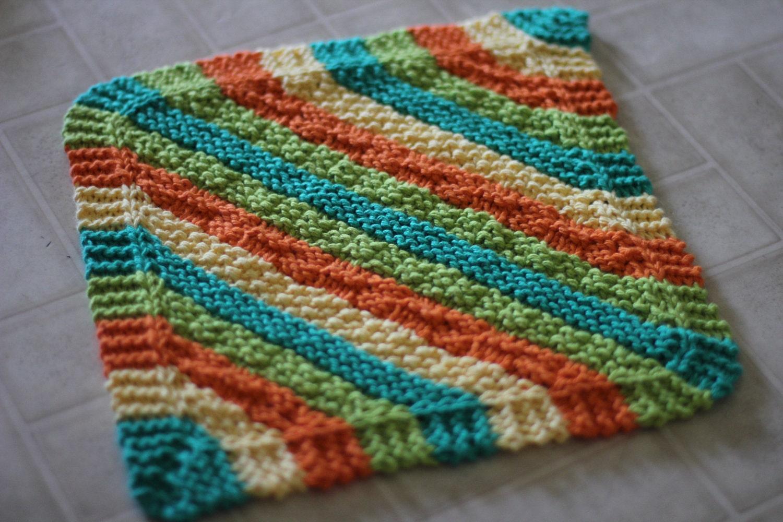 Beautiful Diagonal Knit Dishcloth Pattern Ensign - Blanket Knitting ...