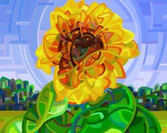 colorful summer walk sunflower field flowers abstract colorful Signed Fine Art Giclee Print from my Original Painting - Pinwheel