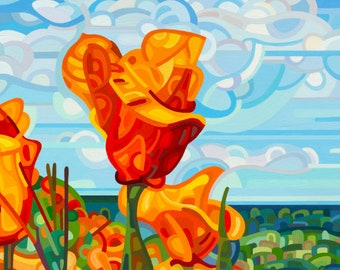 field of red summer poppies blue sky afternoon  Signed Fine Art Giclee Print from my Original Painting - Standing Tall
