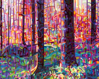 fine art reproduction print of a colorful painting of the woods for walking - Forest Tapestry