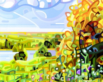colorful fall day field and stream yellow and gold blue sky, Signed Fine Art Giclee Print from my Original Painting - Almost Autumn