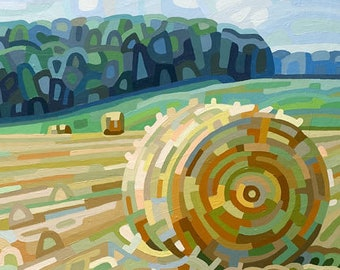 late summer field with hay bale, autumn, fall, green, blue, cottage, Signed Fine Art Giclee Print from my Original Painting - Early Hay