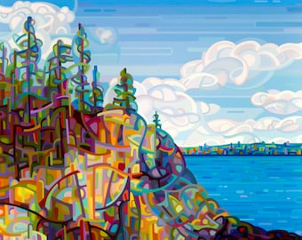 fine art reproduction print a rocky shore on a summer day at the lake - Living on the Edge