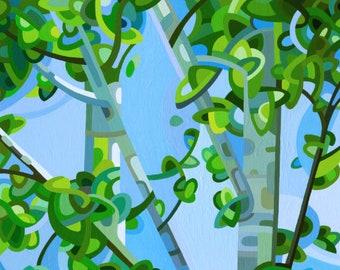 summer birches forest walk blue sky dappled light Signed Fine Art Giclee Print from my Original Painting - Birch Light