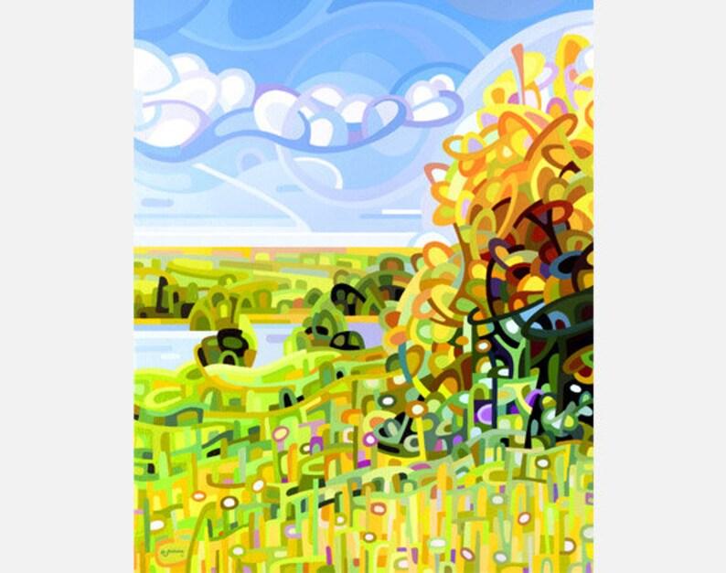 fine art print note card landscape tree wetlands sunflower hillside Summer 4