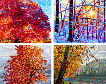Hip to Be Square- fine art cards, painting prints, blank inside with envelopes, any occasion, gifts, trees