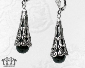 Gothic Antique Silver Black GLASS TEARDROP EARRINGS Victorian Style Filigree E08