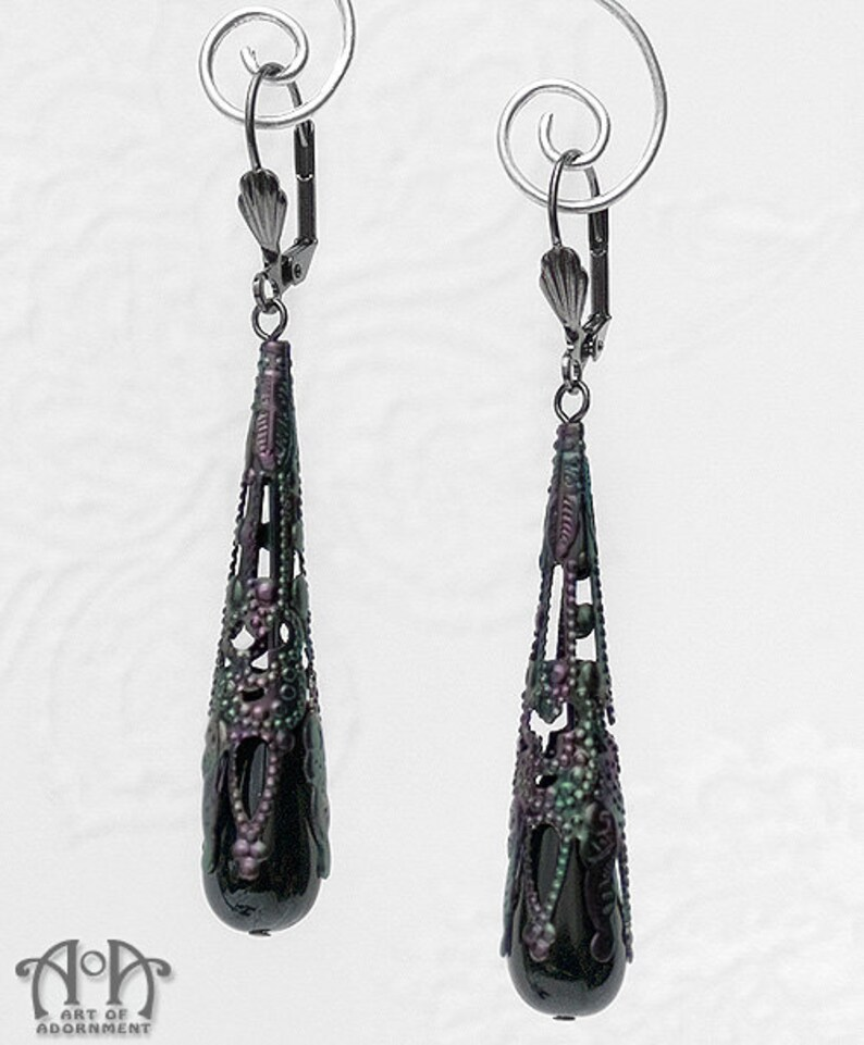 Silver BLACK Czech Glass EARRINGS Drop Dangle HOOK Victorian VINTAGE Gothic Dark