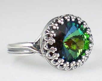 Green Sphinx Rivoli Rhinestone Ring Vintage Inspired Antiqued Silver Blue Green Adjustable Ring Jewelry