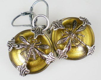 Dragonfly Earrings Gold Czech Glass Buttons Oxidized Silver Dragonfly Jewelry