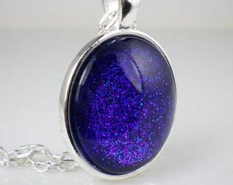 Handmade Glass Necklace Violet Blue Glitter Nail Polish Jewelry