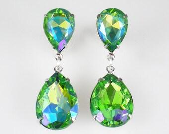 Green Purple Rhinestone Earrings Wedding Jewelry Bridesmaid Earrings