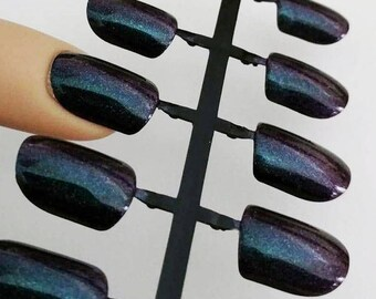 Holo Press on Nails, Glitter False Nails, Artificial Nails, False Nail Set, Iridescent Nails, Short Fake Nails, Purple Blue Nails